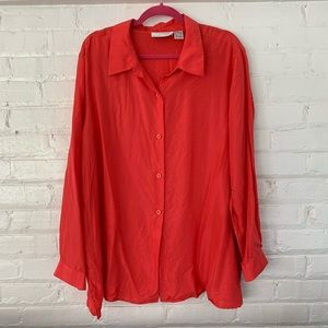 Silk Lore By Beth Terrell Blouse, Size 2X, Coral